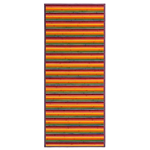 HOGAR Y MAS Alfombra BAMBÚ Rayas Multicolor 75X175