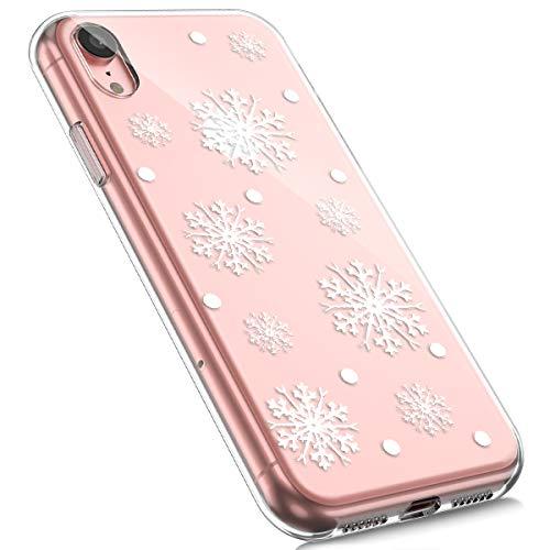 MoreChioce kompatibel mit iPhone XR Hülle,kompatibel mit iPhone XR Handyhülle, Durchsichtig Silikon Etui Christmas Weihnachten Schneeflocke Hirsch Muster TPU Gel Bumper,Schneeflocke,EINWEG