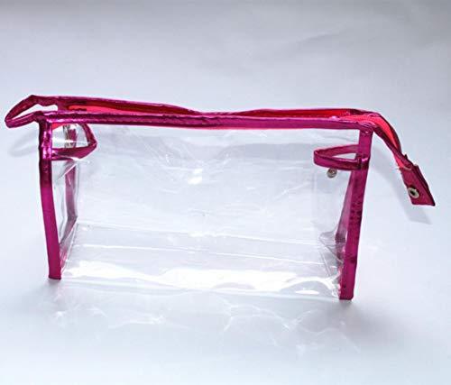 Opak Sac à cosmétiques Transparent Transparent Sac de Lavage Sac de Rangement pour Femme Sac de Rangement Transparent pour Maquillage, Rose, Rouge