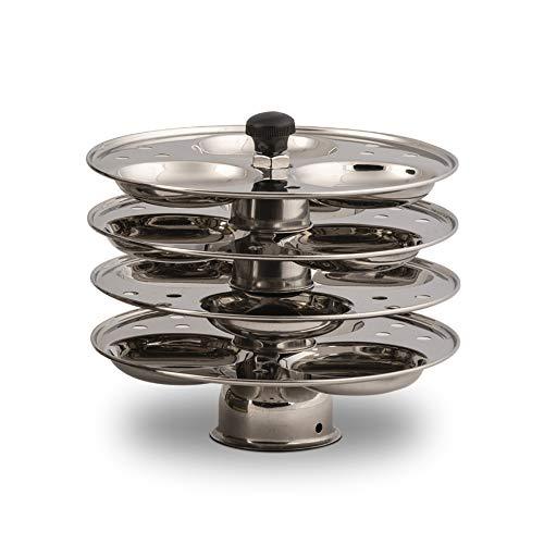 Shanika Edelstahl Idli Maker Dampfgarer Ständer Pfanne Kuchen Dhokla Patra Platten Sancha Topf für Schnellkochtopf, vormontiert (4 Etagen – 16 Leerlauf)