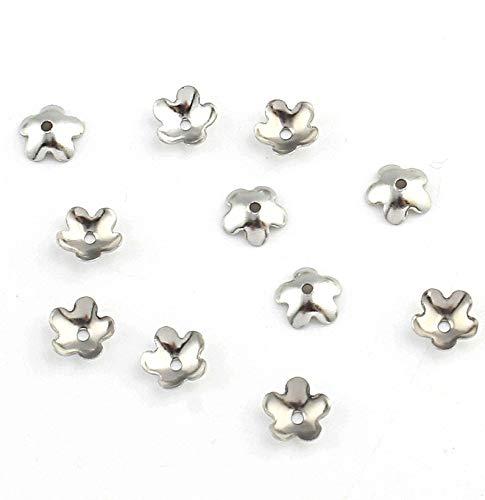 20 tapas de perlas de acero inoxidable con diseño de flores, 6 mm, M229