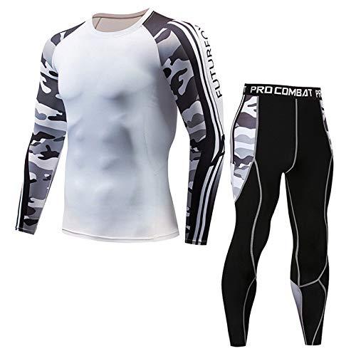GHQYP Mallas Running Hombre Camiseta De Manga Larga Medias Entrenamiento Profesional Correr Fitness Hombres Deportes Cool Juego De Camuflaje para Exteriores,Whtie,L