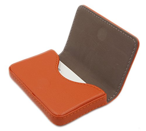 RFID Blocking Wallet - Minimalist Leather Business Credit Card Holder with Magnetic, Orange, Small