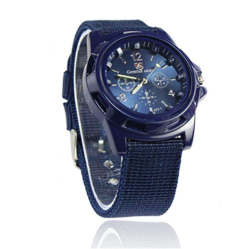 SUPERON Man Watch Gemius Army Racing Force Military Sport Mens Fabric Band Watch Blue Watches Fabric Luxury Male Clock relogio(D,1)