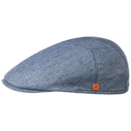 Mayser Sidney Leinen Flatcap Schirmmütze Schiebermütze Leinencap (58 cm - blau)