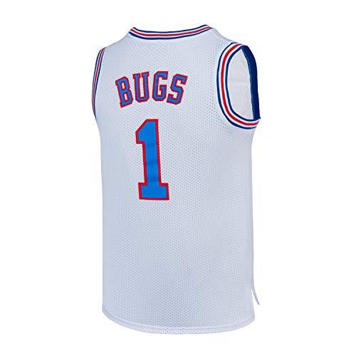 SPPOTY Bugs 1 Space Movie Jam Jersey Mens Basketball Jerseys White/Black S-XXL (White, Small)