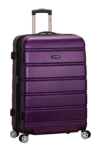 Rockland Melbourne Hardside Expandable Spinner Wheel Luggage, Purple, Checked-Large 28-Inch