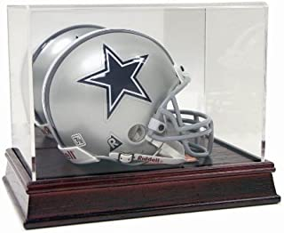 Collectible Supplies Deluxe Acrylic Mini Football Helmet Display Case with Cherry Wood Base