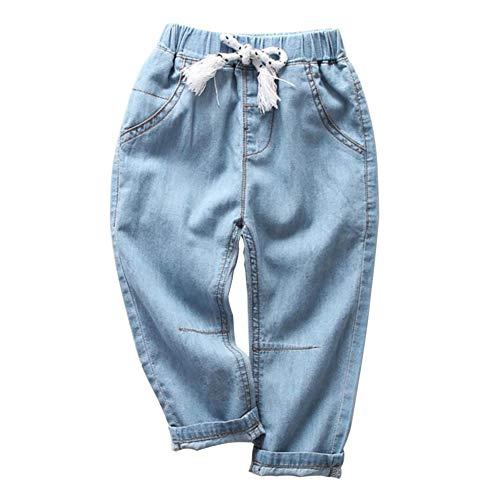 MODNTOGA Toddler Boy Jeans Kids Baby Boys Girls Blue Elastic Jeans Casual Long Pants (Light Blue, 2-3T)