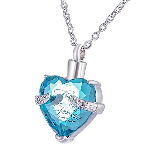 HooAMI Edelstahl Memorial Urne Halskette Herz Blau Kristall Wasserdict Unisex Andenken Asche...