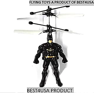Gsmatt RC Helicopter Flying Toys Minion Avengers Heroes Drone Remote Control Aircraft Toy with Led Birthday for Children Kids (Batman)