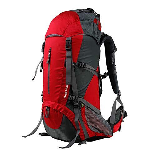LILINA Mochila de Senderismo Ampliable 55L a 60L Mochila de Trekking Resistencia al Agua Ultraligera Camping Montañismo Ciclismo Viajes Mochila al Aire Libre para Hombres y Mujeres,Rojo