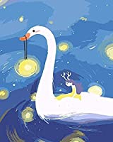 NC56 DIY Oil Painting Children's Bedroom Decoration White Swan Anime Poster Picture by Animal Digital Oil Painting Painting