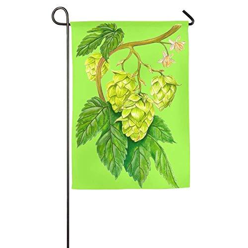 Trista Bauer Dekor Hopfen Bier Blume Frühling Rasen Hof Hausgarten Fahnen 12 x 18 Zoll Allwetter Polyester Banner
