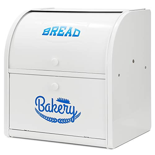 Hossejoy Metal Bread Box, Double Compartment Roll Top Countertop Bread Storage, Bread Bin Container Holder, Double Layer Breadbox Holds for your Kitchen Counter (White)
