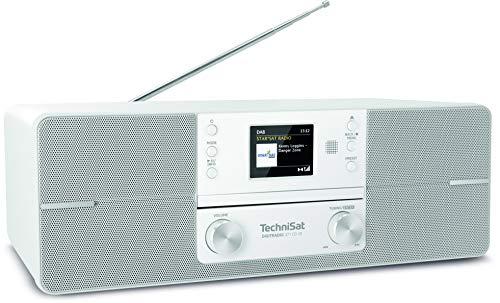 TechniSat DIGITRADIO 371 CD IR - Stereo Internetradio (DAB+, UKW, CD-Player, WLAN, Bluetooth-Audiostreaming, Farbdisplay, USB, AUX, Kopfhöreranschluss, Wecker, 10 Watt, Fernbedienung) weiß