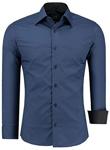 J'S FASHION Herren-Hemd - Vergleichssieger 2019* - Slim-Fit - Langarm-Hemd - Bügelleicht - EU Größen: S bis 6XL - Navyblau 5XL
