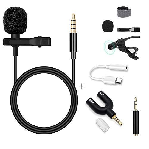 Lavalier Mikrofon, GOOKUURL Lavalier Mikrofon für Handy und PC, Ansteckmikrofon mit 1.6m Verlängerungskabel und Kondensator mit 3 Transformation, Perfekt für K Lied, Interview, Vlog, Podcast usw.