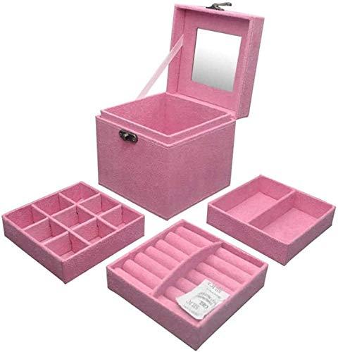 MQJ Caja de Alenamiento de Joyería Caja de Joyería Organizador Espectáculo de Bloqueo de Bloqueo Exquisito Cuero Joyería Caja Pendientes Hechos a Mano Pendientes de Viaje Alta Capacidad,Rosa