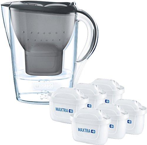Brita Wasserfilter Marella graphitgrau inkl. 6 Maxtra+ Filterkartuschen, Filter Halbjahrespaket zur Reduzierung von Kalk, Chlor und geschmacksstörenden Stoffen im Wasser