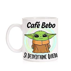 FUNNY CUP Taza Café Bebo si despertarme Quiero. Taza Baby Divertida de Regalo 5