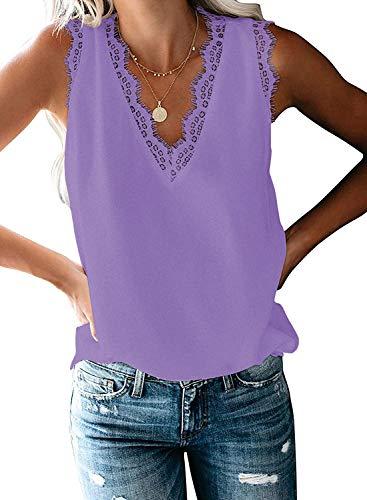 HARHAY Women's V Neck LaceTrim Casual Tank Tops Sleeveless Blouses Shirts Lavender S