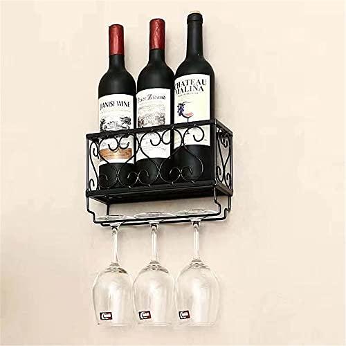 Soporte para Copa, botellero, Soporte para Botella de Vidrio y champán para Vino montado en la Pared, Estante de exhibición de Botella de Vino de Metal, Negro 25 * 10 * 17
