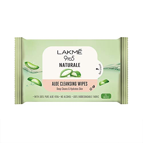 Lakme 9to5 Natural Aloe Cleansing Wipes With Aloe Vera & Glycerine, Alcohol Free, Removes Oil & Dirt, Moisturizes Skin, Biodegradable Fabric, 25 Wipes