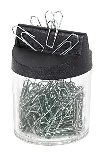 Wedo 2705154 Klammernspender (mit Magnet rund gefüllt, 125 Büroklammern) silber/transparent