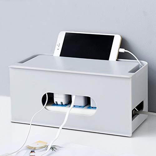 Macabolo opbergdoos voor desktops, holle design, warmteafvoer, power strip, beschermhoes, draadmanagement-organizer voor thuis, kantoor, desktop met mobiele telefoon/tablethouder 282 * 140 * 130MM grijs