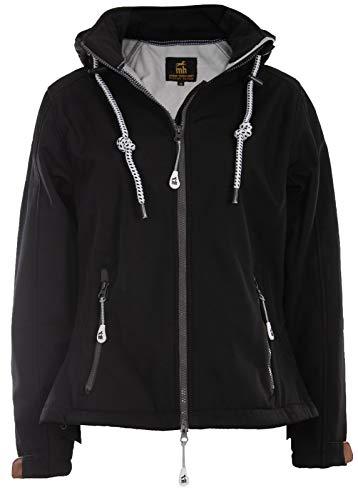 michael heinen Softshelljacke Damen Wasserdicht - Black 48 - Regenjacke Mit Kapuze Atmungsaktiv