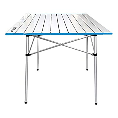 IPOUF Camping Table Folding Lightweight Aluminum Roll Up Top Compact Table with Carry Bag for Outdoor Picnic