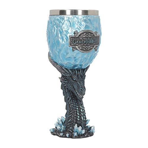 Nemesis Now Viserion - Copa para caminante (18,5 cm), color azul, resina con inserto de acero inoxidable