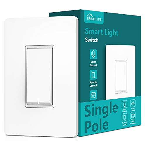 Treatlife Smart Light Switch(Neutral Wire Required), 2.4Ghz Wi-Fi Light Switch, Works with Alexa and Google Assistant, Schedule, Remote Control, Single Pole, ETL Listed (1 PACK)