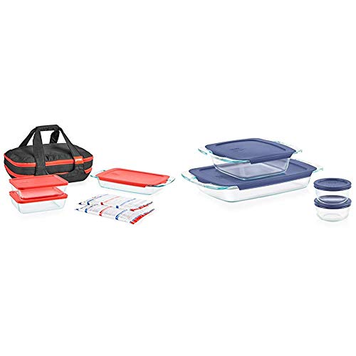 Pyrex Portables Glass Food Bakeware and Storage Containers (9-Piece Set, Insulated Carrier, BPA Free Lids) & Grab Glass Bakeware and Food Storage Set, 8-Piece, Clear