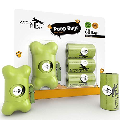 Active Pets Dog Poop Bag Dispenser For Poop Bags Fits Any Leash, Dog Poop Bag Holder For Dog Bags, Includes 60 Doggie Bags For Poop, Poop Bag Holder For Leash for dog bags for poop With 4 Poop Rolls