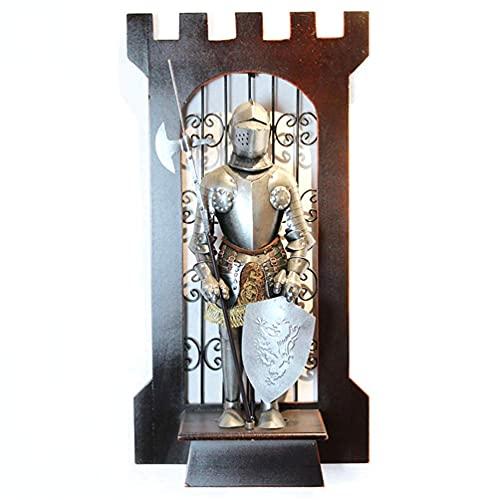 24 '' Valiant Swordsman Statue Arte para colgar en la pared, Brave Lionheart Knight Armor Figurine Metal Iron Wall Mount Decoración, Use la armadura completa de la estatua de Dios, Disfraz de estatua