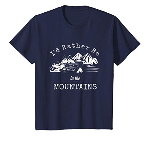 Kids Camping Shirt Mountains Camping Escape Rather Be Love Tshirt 4 Navy