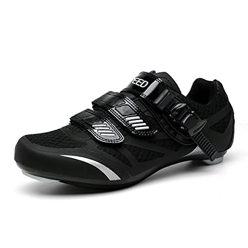 Zapatilla de Ciclismo Hombre Mujer Zapatos de Ciclismo de Antideslizantes SPD/SPD-SL Lock System Zapatillas de Bicicleta de Carretera Deportivas Negro-2 38
