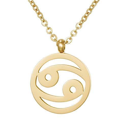 Morella Collar Acero Inoxidable Oro con Colgante Signo del Zodiaco Cáncer en Bolsa de Terciopelo