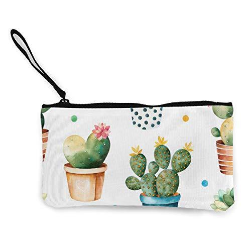 Sconosciuto Piante in vaso di carne e cactus in tela portafogli squisiti portamonete in tela piccolo portamonete viene utilizzato per contenere monete, ID e altri