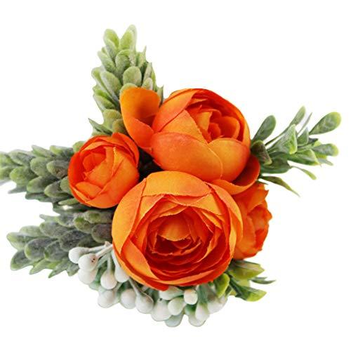 Pols Corsage, Vaeiner Handgemaakte Mannen Vrouwen Boutonniere Pols Corsage Kunstmatige Rose Bloem Nep Succulente Bruiloft Banket Party Decoratie 6 Kleuren