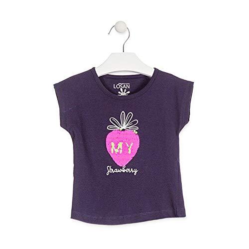 losan Camiseta con Manzana de Lentejuelas Reversibles Color Azul para niña 916-1211