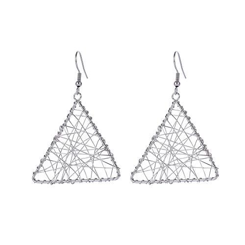 LIKGRAN Pendientes de triángulo geométricos de acero inoxidable colgante de gota para mujer