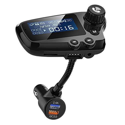 Wodgreat FM Transmitter Empfänger Bluetooth 5.0 Kfz Radio Adapter Wireless Auto Transmitter Freisprecheinrichtung Dual USB Ladegerät Transmitter Unterstützt Siri Google USB Stick TF Karte
