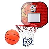 BESPORTBLE Mini Panier de Basket-Ball avec Porte de Basket-Ball Mural Panneau de Panier pour Enfants Jouet de Basket-Ball pour Intérieur Extérieur