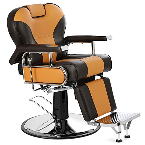 Artist Hand Heavy Duty Barber Chairs Hydraulic Reclining Barber Chair Salon Chair Styling Chair for Salon Equipment Tattoo Chair (Yellow/Brown)