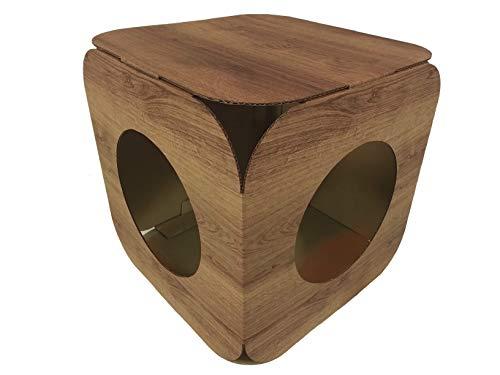 Katzenhaus \ Katzenbett aus Karton,Holzeffekt