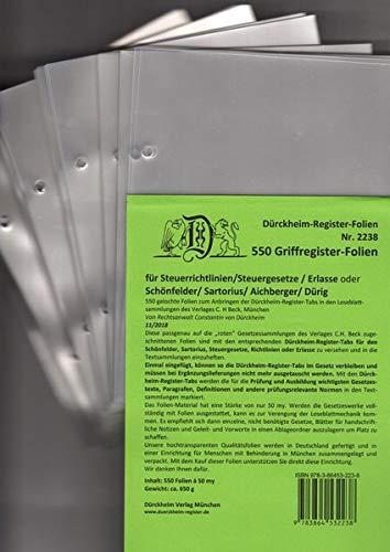 550 DürckheimRegister-FOLIEN für STEUERGESETZE, SCHÖNFELDER u.a; zum Einheften und Unterteilen der roten Gesetzessammlungen: 550 transparente FOLIEN ... SCHÖNFELDER, SARTORIUS oder STEUERGESETZE