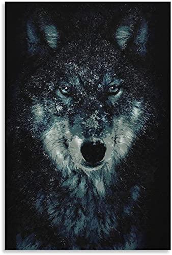 PóSter Y Estampados Lobo para la decoración de la Sala de Estar Lienzo Pintura Pared Arte Cuadros 23.6'x35.4'(60x90cm) Sin Marco